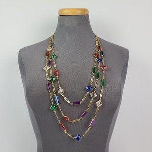 Vintage Gold Tone Plastic Bezel Layered Necklace